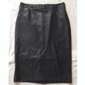 Zara Basic Pencil Skirt Faux Leather Navy Blue